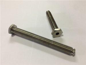 Nr.64-tuščiaviduris titano tvirtinimo elementas su per angą titano lydinio 6Al4V indų galvutės šešiabriauniu raktu
