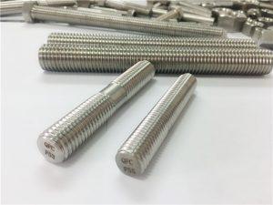 Individualizuotos automatinės nerūdijančio plieno tvirtinimo detalės su sriegiu su dviem galais